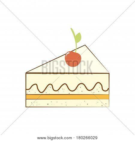 delicious cake sweet portion icon vector illustration design