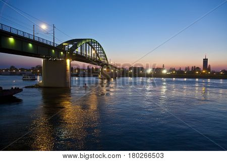 Bridge over the Sava river in night.
