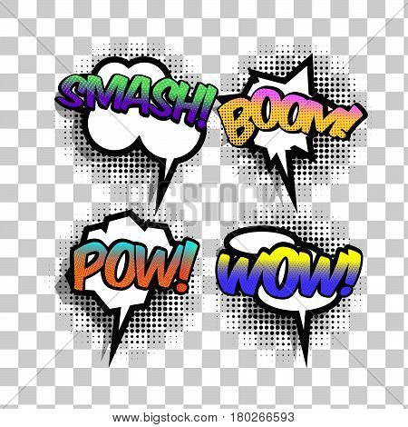 Vector comic speech bubble with bright colors smash boom pow wow