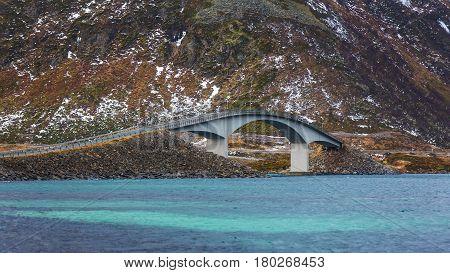 Landscape of Fredvang bridge in Lofoten Norway
