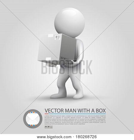 Sending a parcel. Man holding a parcel . Vector illustration