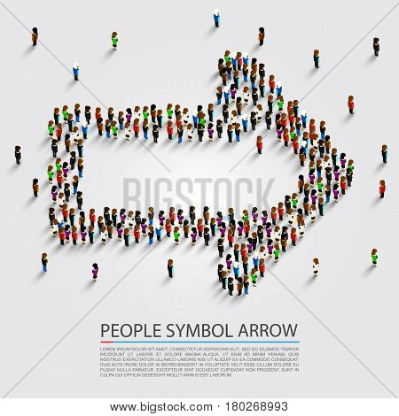 People arrow isometric, Arrow group sign , Vector illustration
