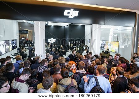 MOSCOW RUSSIA:01 APR 2017 - DJI Quadcopter Drone store opening ceremony in Moscow. DJI is the leading company in the civilian-drone industry. It manufactures also gimbals, cameras, camera stabilizers.
