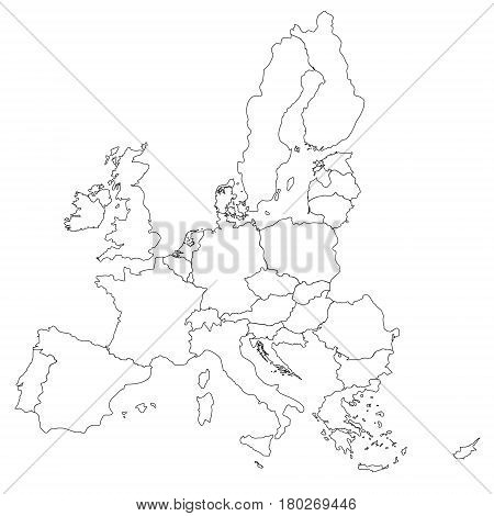 Simple All European Union Countries In One Outline Map Eps10