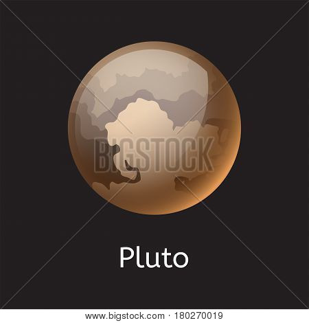 High quality space planet galaxy astronomy pluto universe science globe cosmos orbit star vector illustration. Astrology planetary world exploration journey scientific surface.