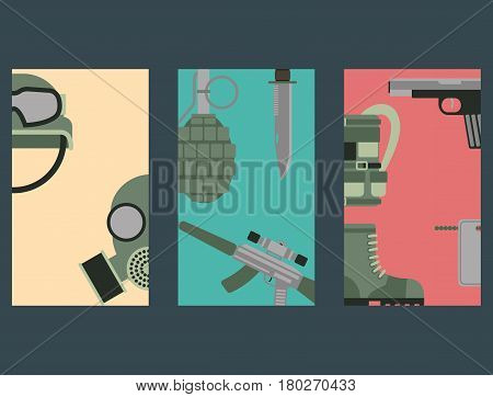 Military weapon guns symbols armor cards forces design and american fighter ammunition navy camouflage sign vector illustration. Uniform battle sniper automatic special tools.
