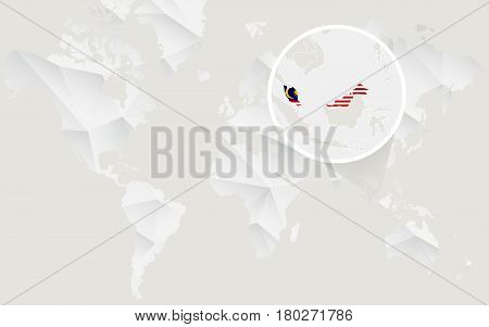 Malaysia Map With Flag In Contour On White Polygonal World Map.