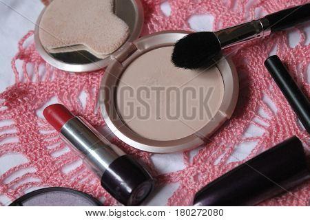 cosmetic for daily beautify powder, brush, mascara, lipstick and eyeshadow