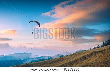 Paraglide In A Carpathian Sunset Sky