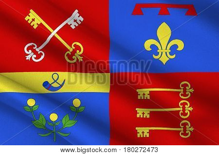 Flag of Vaucluse is a department in the southeast of France. 3d illustration