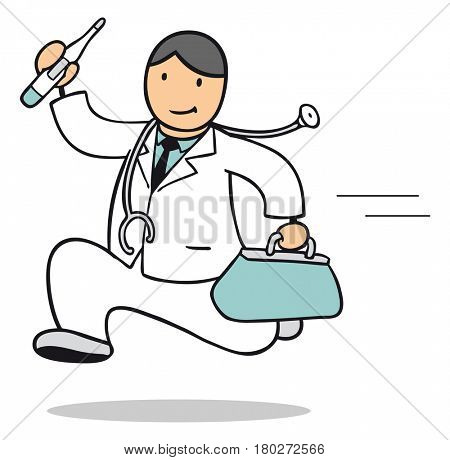 Doctor as cartoon running to emergency service call