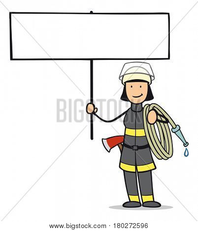 Fire fighter woman cartoon holds blank sign for 911 advertising