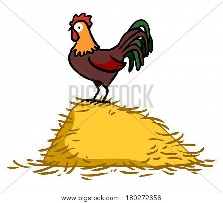 Cock as cartoon standing on hay pile in a farm