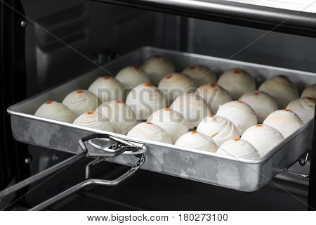 Dessert Chinese Pastry.The dough for pastry making in baking tray ovens