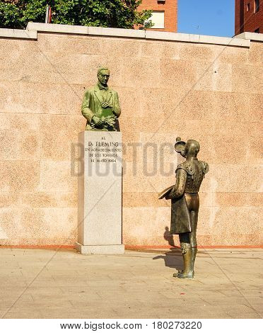 Madrid,Spain-July 24,2010:Monument to the discoverer of Penicillin outside Bullring Ventas in MadridSpain