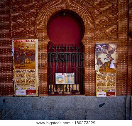 Madrid,Spain-July 24,2010:Closed ticket window at Bullring Ventas in Spain on a bulfights day