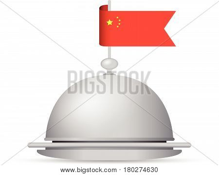 a red and yellow China flag dinner platter