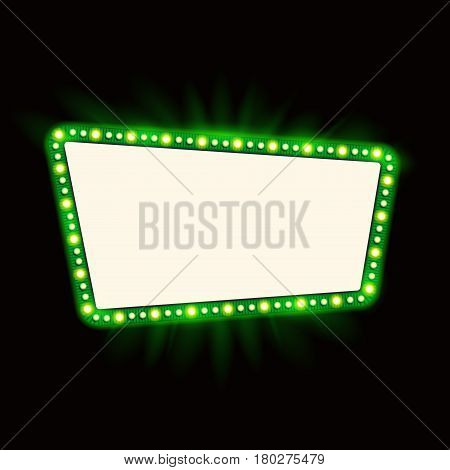 Retro Showtime 1950s Sign Design. Neon Lamps billboard on dark background. American advertisement, vector illustration. Cinema and theater Signage Light Bulbs Frame for Sale flyers
