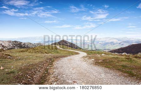 Walking route in Cantabrian Mountains, Picos de Europa National Park,  Asturias, Spain.