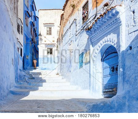 Narrow old street  in  Medina at sunny morning , Chefchaouen, Morocco