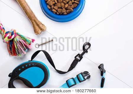 Collar, blue bowl with feed, leash and delicacy for dogs. Isolated on white background. Top view. Still life. Copy space
