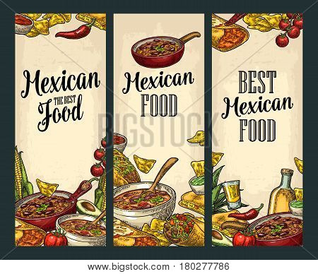 Vertical posters with Mexican traditional food and ingredient. Guacamole Quesadilla Enchilada Burrito Tacos Nachos Chili con carne. Vector vintage engraved illustration on beige background