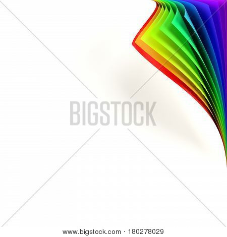 Blank square sticker mock up with rainbow colored curled corner. Graphic design element with decorative colors and shadow. Diversity, love, equity, all colors of the rainbow concept. 3D illustration