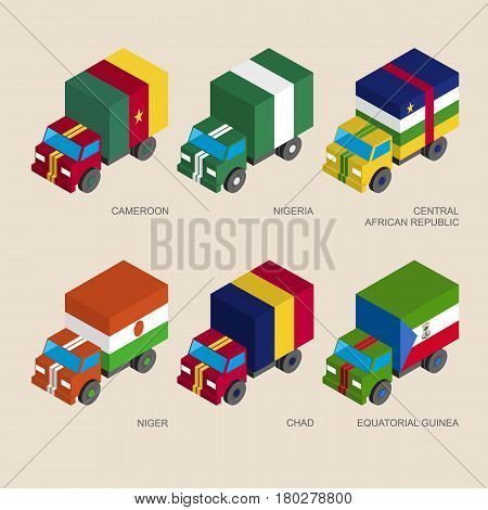 Set of isometric 3d cargo trucks with flags of African countries. Cars with standards -  Niger, Nigeria, Chad, Equatorial Guinea, Cameroon, Central African Republic. Transport icons for infographics.
