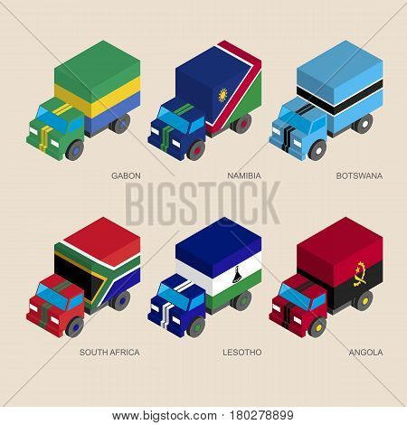 Set of isometric 3d cargo trucks with flags of African countries. Cars with standards -  Gabon, Namibia, Botswana, South Africa, Lesotho, Angola. Transport icons for infographics.