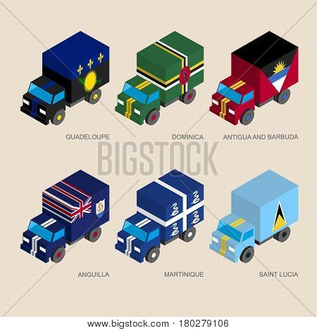 Set of isometric 3d cargo trucks with flags of Caribbean countries. Cars with standards -  Guadeloupe, Dominica, Antigua, Martinique, Saint Lucia, Anguilla. Transport icons for infographics.