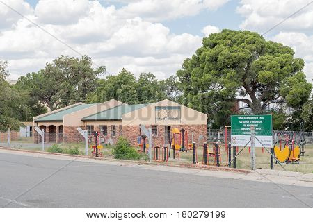 NOUPOORT SOUTH AFRICA - MARCH 21 2017: A computer school and outdoor gymnasium in Noupoort a small railway town in the Northern Cape Province
