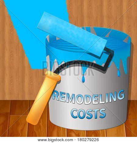 Remodeling Costs Showing House Remodeler 3D Illustration