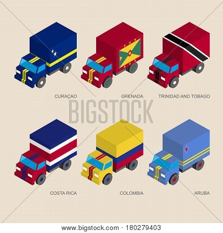 Set of isometric 3d cargo trucks with flags of Caribbean countries. Cars with standards -  Curacao, Grenada, Trinidad and Tobago, Costa Rica, Colombia, Aruba. Transport icons for infographics.
