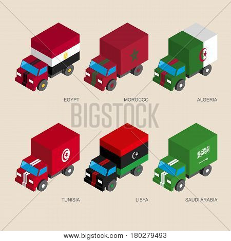 Set of isometric 3d cargo trucks with flags of Middle East countries. Cars with standards -  Egypt, Libya, Saudi Arabia, Tunisia, Morocco, Algeria. Transport icons for infographics.