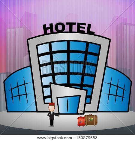 Hotel Room Means City Reservation 3D Illustration