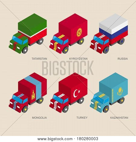 Set of isometric 3d cargo trucks with flags of Asian countries. Cars with standards - Russia, Kazakhstan, Kyrgyzstan, Turkey, Tatarstan, Mongolia. Transport icons for infographics.