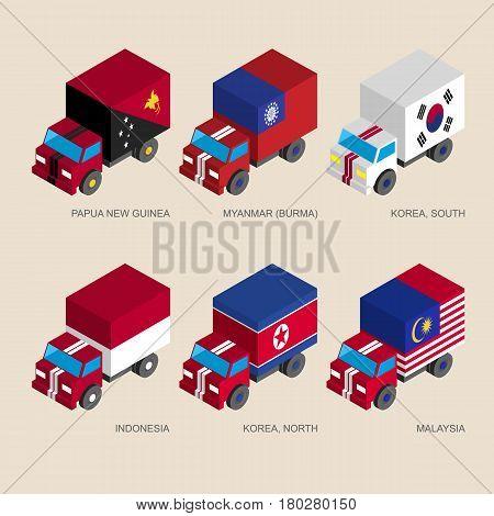 Set of isometric 3d cargo trucks with flags of Asian countries. Cars with standards - Papua New Guinea, Myanmar, South Korea, North Korea, Indonesia, Malaysia. Transport icons for infographics.