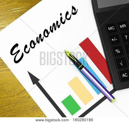 Economics Graph Shows Fiscal And Economizing 3D Illustration