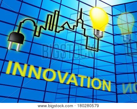 Innovation Lightbulb Shows Reorganization Transformation 3D Illustration