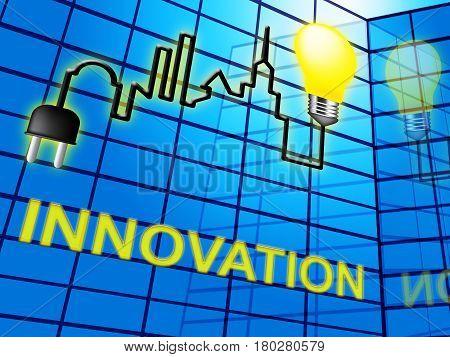 Innovation Lightbulb Shows Reorganization Transformation 3D Illustration