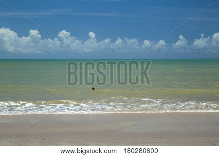 Brazilian Beach Coast On A Sunny Day In Barra Do Cahy, Bahia, Brazil. February, 2017.