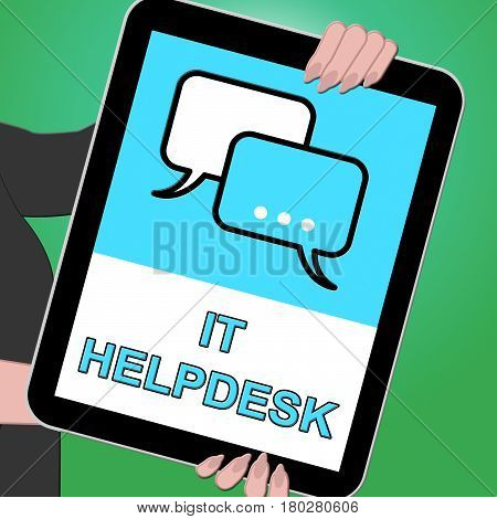 It Helpdesk Key Showing Information Technology 3D Illustration