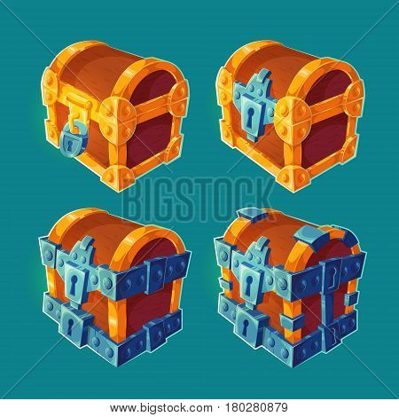 Collection of isolated vector cartoon illustrations of wooden chests locked and bound iron. Can be used as elements of game design