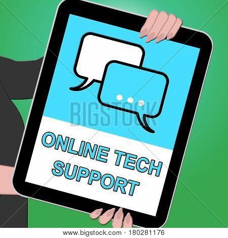 Online Tech Support Shows Help 3D Illustration