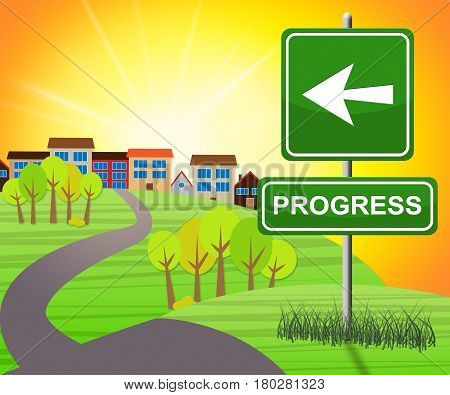 Progress Sign Shows Improvement Growth 3D Illustration