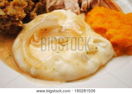 Mashed Potatoes with Turkey and Onion Gravy