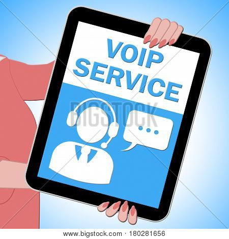 Voip Service Tablet Showing Internet Help 3D Illustration