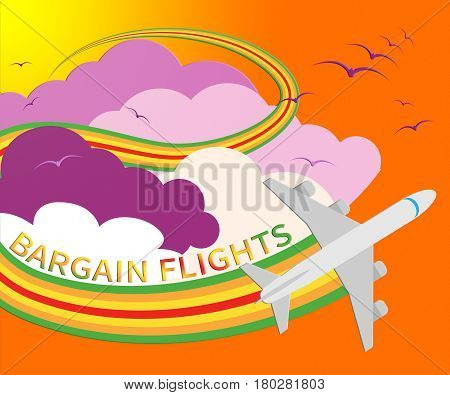 Bargain Flights Represents Flight Sale 3D Illustration