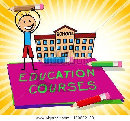 Education Courses Paper Displays Course 3D Illustration