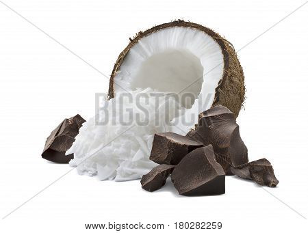 Coconut half shredded pieces and broken chocolate pile isolated on white background as package design element